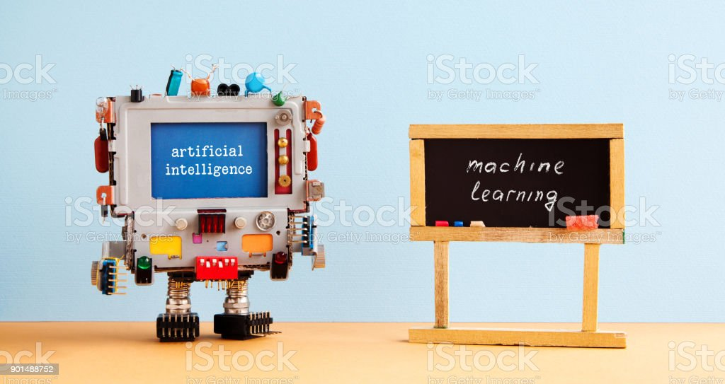 Artificial intelligence machine learning. Robot computer black chalkboard classroom interior, future technology concept - foto stock