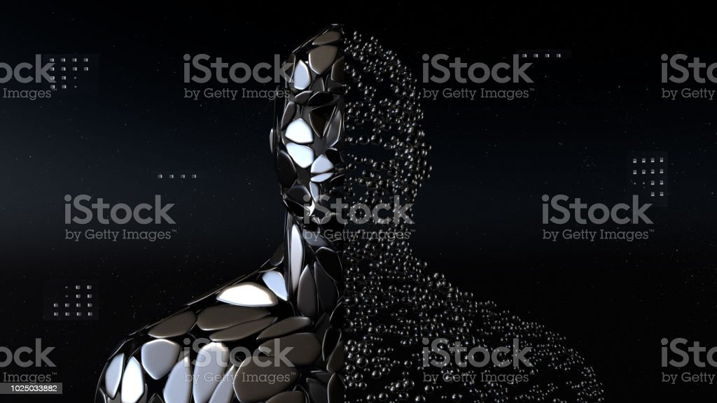 Artificial intelligence, machine learning, virtual human with connection data stock photo