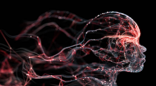 Artificial Intelligence / Neural Network / Human Face (Red) stock photo