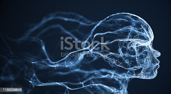3D rendered depiction of digital network connections shaped like a human face. Highly detailed and perfectly usable for a wide range of topics related to artificial intelligence, big data or technology in general.