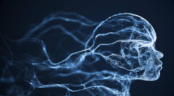 Artificial Intelligence / Neural Network / Human Face (Blue) stock photo