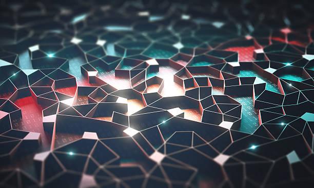 artificial intelligence / neural network - datenknoten stock-fotos und bilder