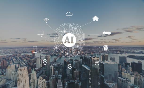 Artificial Intelligence of Manhattan stock photo