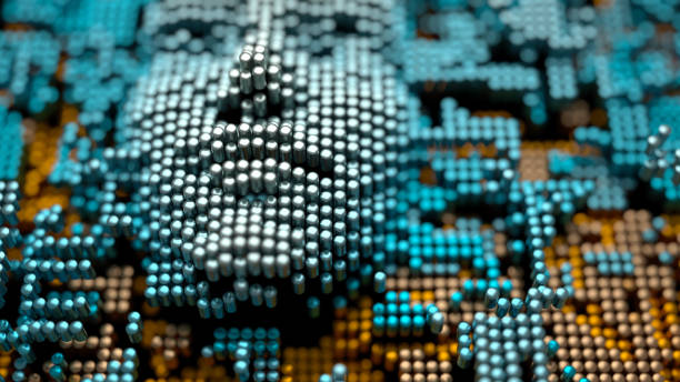 Artificial intelligence A human-like face emerging from an abstract landscape made of metallic cylinders, artificial intelligence concept emergence stock pictures, royalty-free photos & images