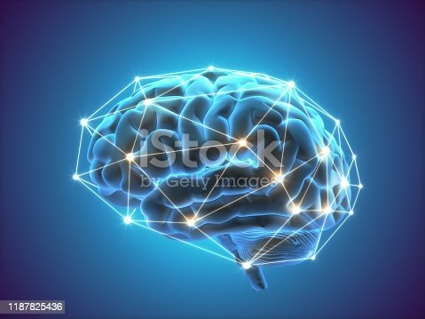 Digitally generated human brain, artificial intelligence concept