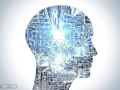 Microprocessor head. The future of human evolution.