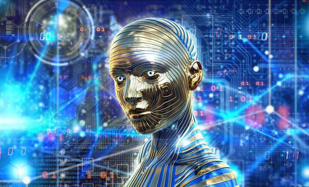 Artificial intelligence,  processing neurological data, brain, human replacement stock photo