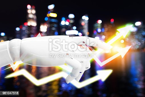 istock Artificial intelligence , robo advisor , chatbot robotic and power grid smart city technology concept. Robot finger ai can maker better productivity , uptrend arrow graphic with flare light effect. 981047518