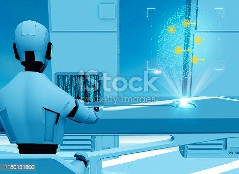 istock Artificial intelligence, robot. Cyborg on the computer. Science fiction. Sci-fi. Programming. Fingerprint hologram. Privacy violation 1150131800