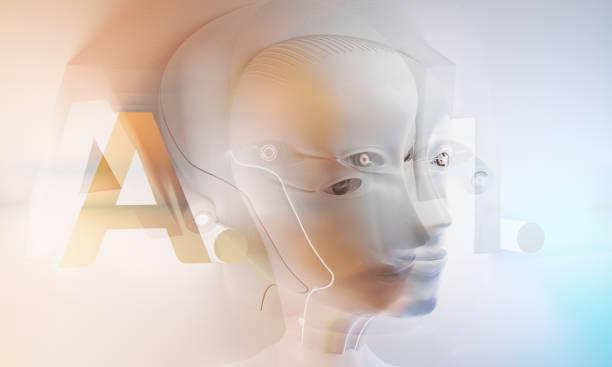 Künstliche Intelligenz Roboterkopf 3D-Illustration – Foto