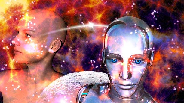 Artificial Intelligence - Robot woman connected to a female stock photo