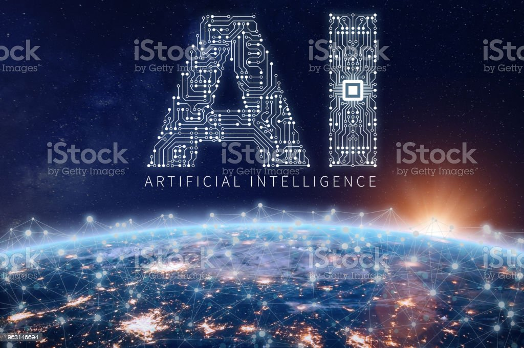 Artificial Intelligence technology concept, AI circuit board, microchip, Earth network stock photo