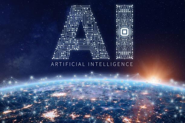 Künstliche Intelligenz-Technologie-Konzept, AI-Platine, Mikrochip, Earth network – Foto
