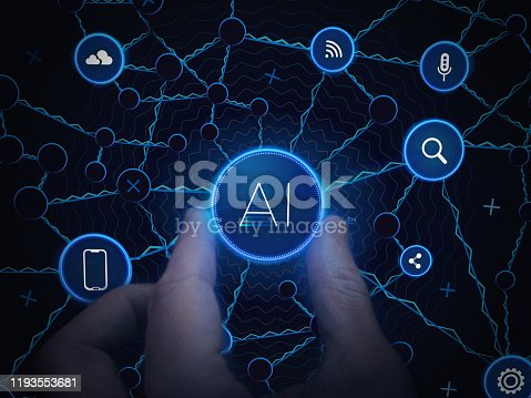 868362844 istock photo Artificial Intelligence Technology. Human Hand On Concept Background. Digital Neuron Data Structure Design. Ai Neural System Network. Artificial Intelligence Background. Cyber System Structure. 1193553681