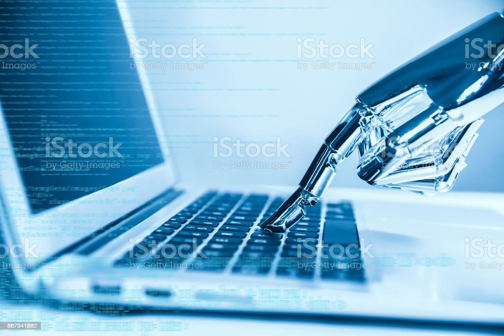 Artificial intelligence using laptop stock photo