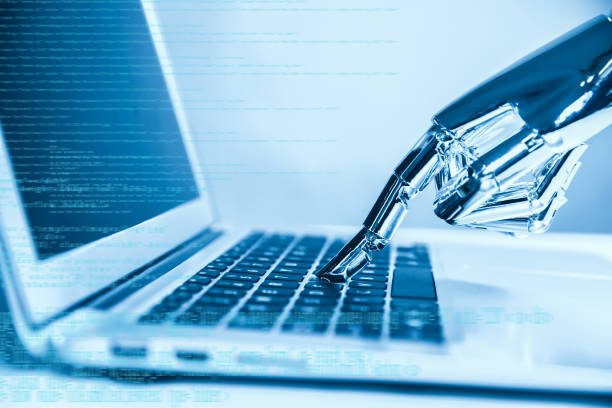 artificial intelligence using laptop - automated stock photos and pictures
