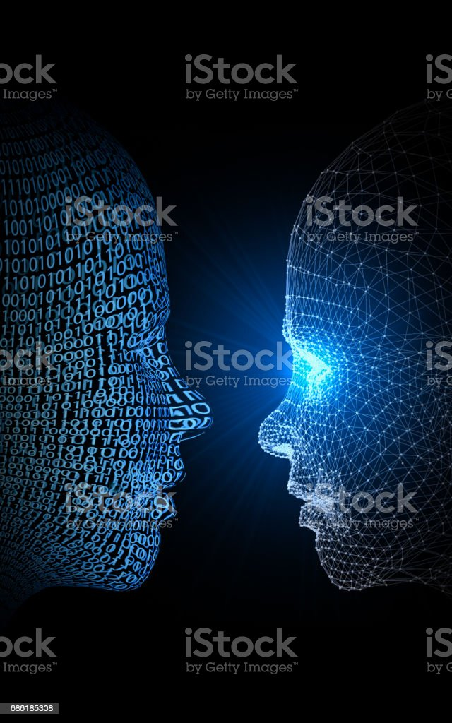 Artificial Intelligence Versus Virtual Woman stock photo