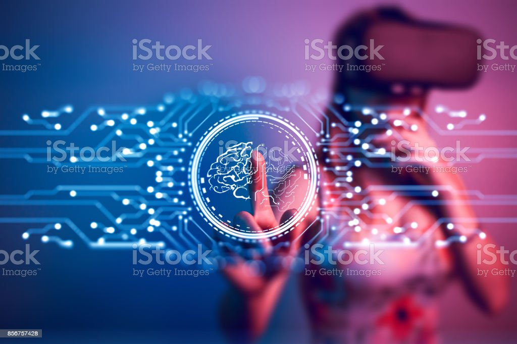 Artificial Intelligence Virtual Reality digital concept touch screen stock photo