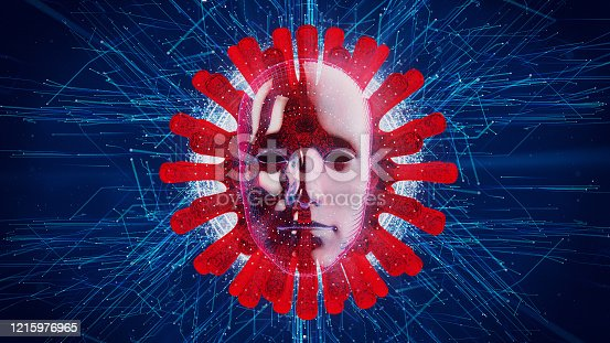 875483824 istock photo Artificial Intelligence vs COVID19, abstract concept of fighting Coronavirus with AI machine learning 1215976965