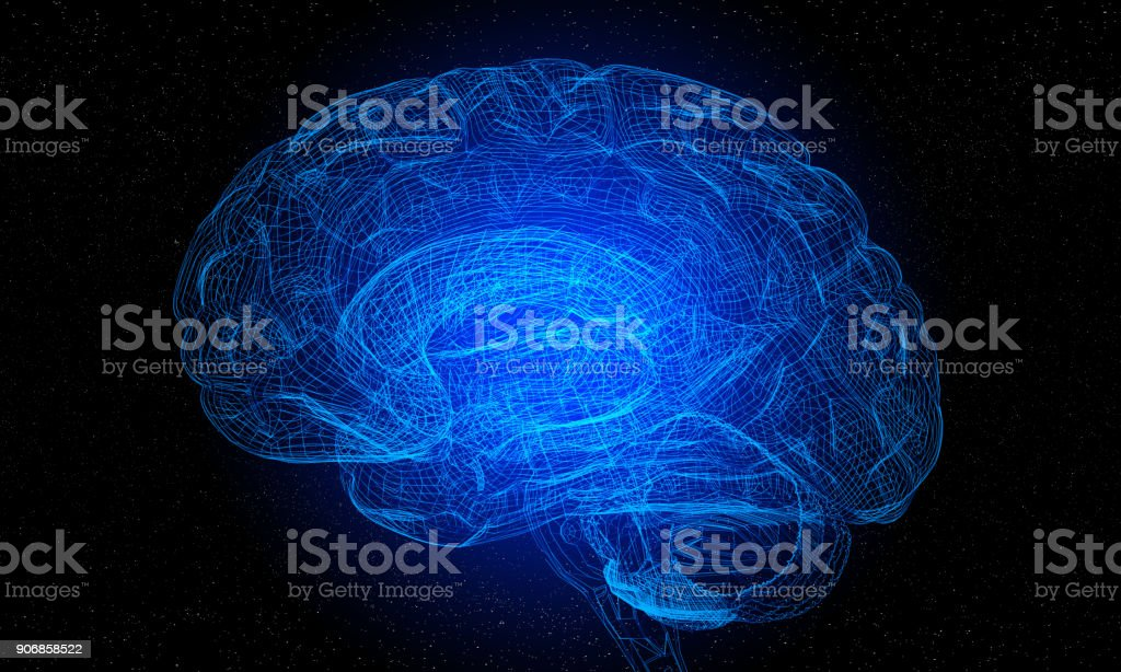 Artificial Intelligence With 3d Futuristic Wireframe Human Brain stock photo