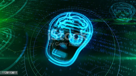 istock Artificial intelligence with cyber head symbol 1129113611