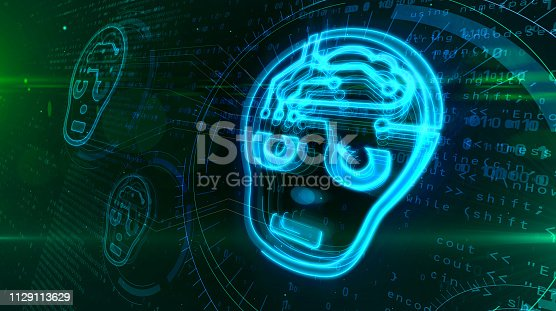 545118508 istock photo Artificial intelligence with cyber head symbol 1129113629