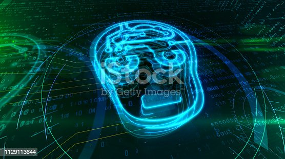 545118508 istock photo Artificial intelligence with cyber head symbol 1129113644
