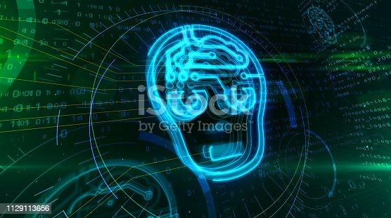 545118508 istock photo Artificial intelligence with cyber head symbol 1129113656