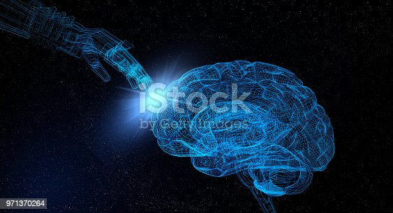 istock Artificial Intelligence With Wireframe Human Brain 971370264