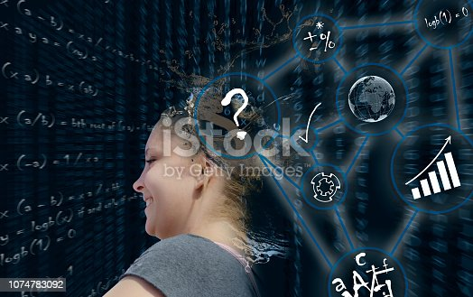 872670490istockphoto Artificial Intelligence. Young blond woman in Composition on the subject of Future Technologies 1074783092