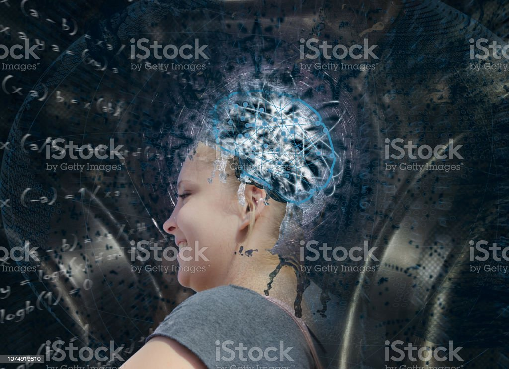 Artificial Intelligence. Young blond woman in Composition on the subject of Future Technologies artifical inteligence concept stock photo