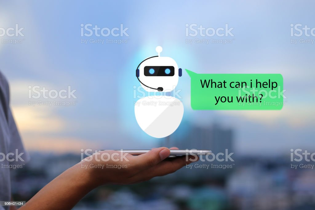 artificial intelligence,AI chat bot concept. Man hands holding mobile phone on blurred urban city as background Advice Stock Photo