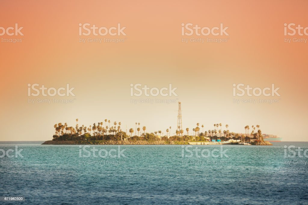 THUMS artificial Island Chaffee at the sunset stock photo