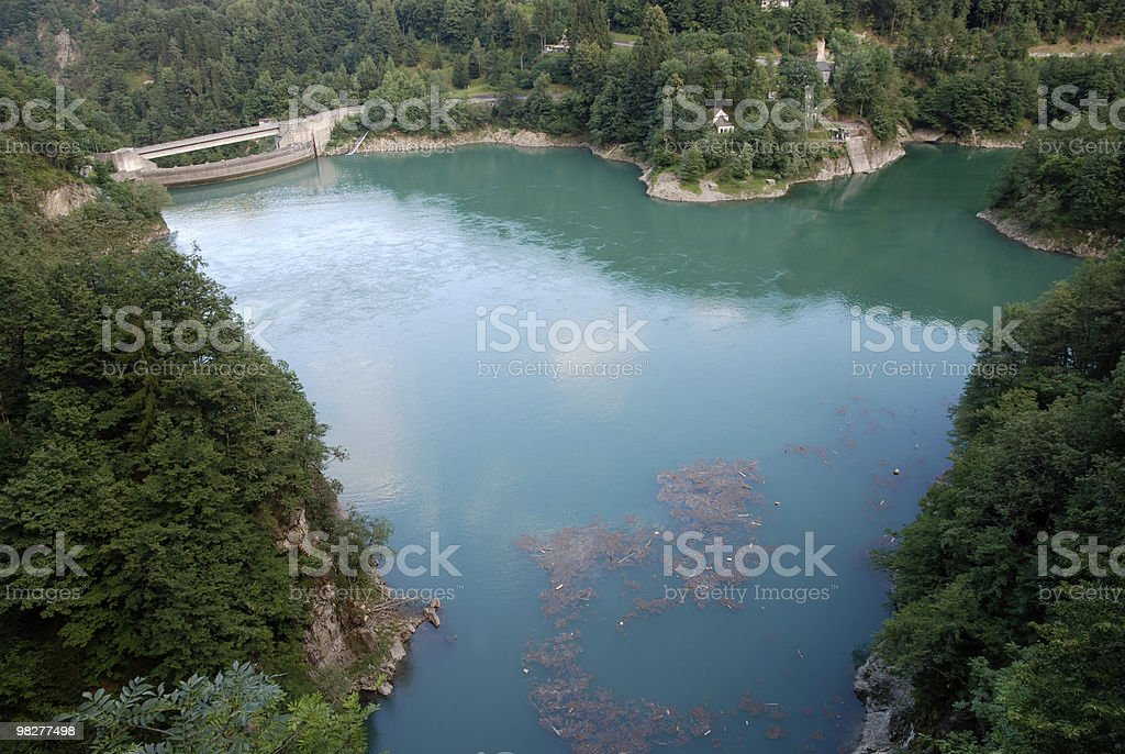artificial lake in the Swiss Alps royalty-free stock photo