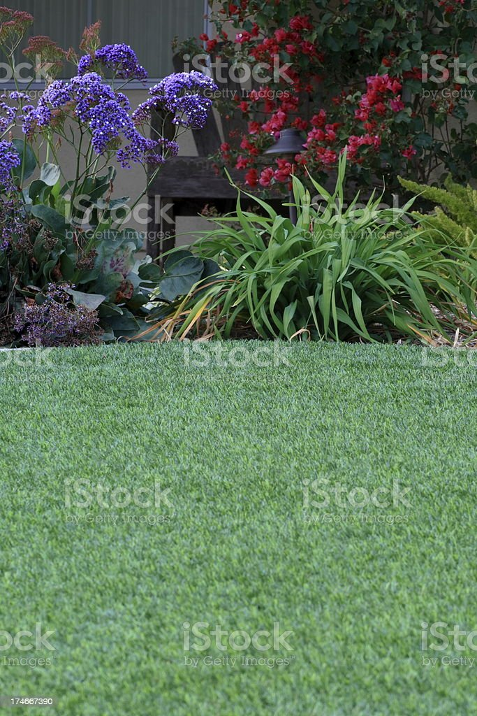 Artificial Lawn and Bench royalty-free stock photo