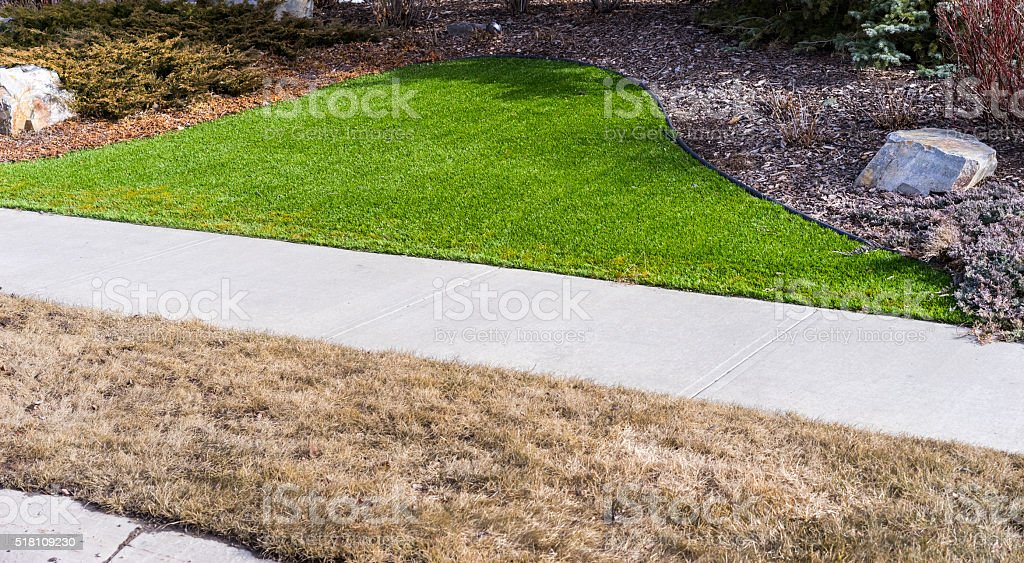 Artificial lawn vs natural stock photo