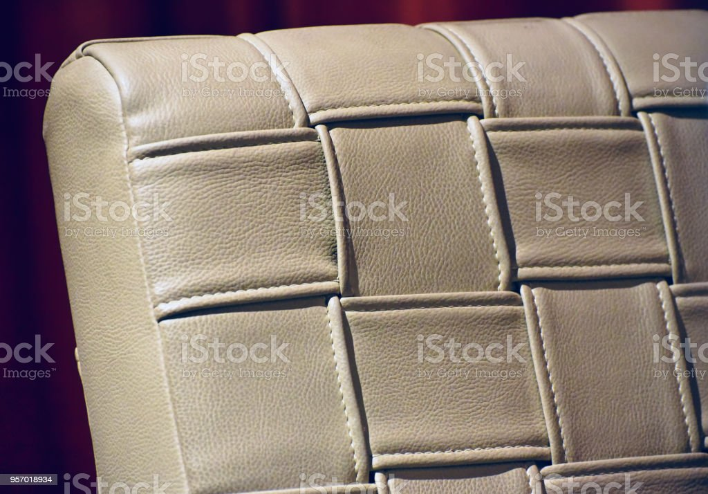 A artificial leather cover of a relaxing chair stock photo