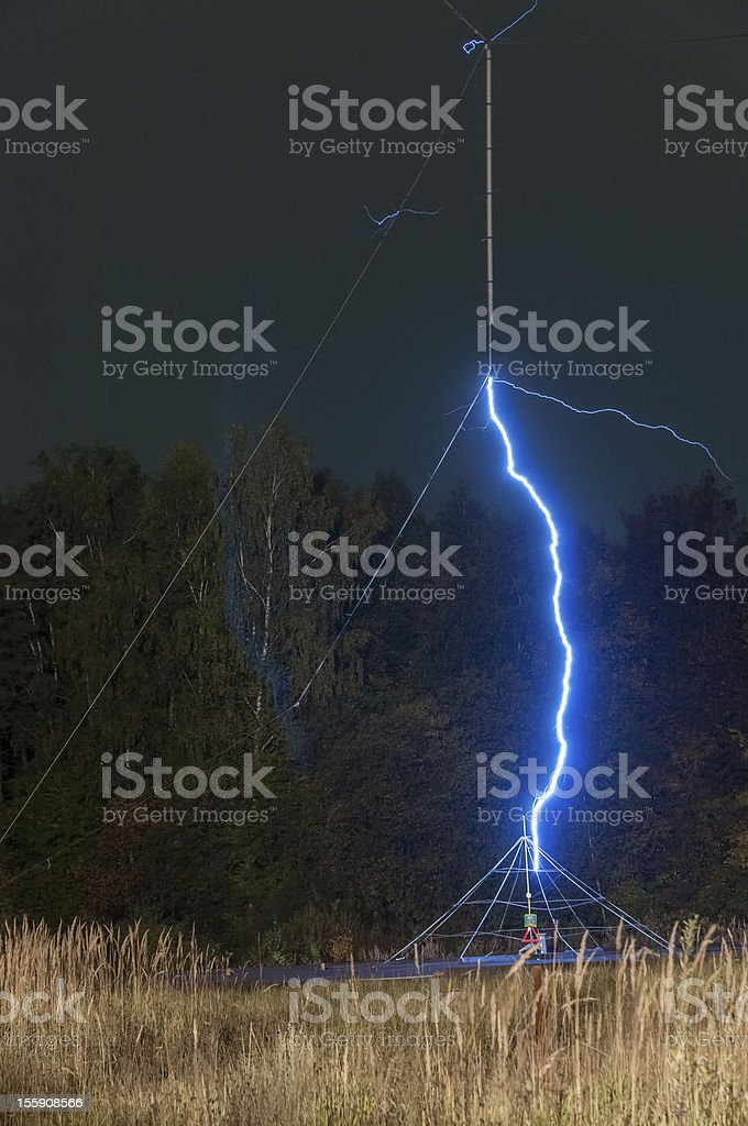 Artificial lightning in science research of high voltage discharge. royalty-free stock photo