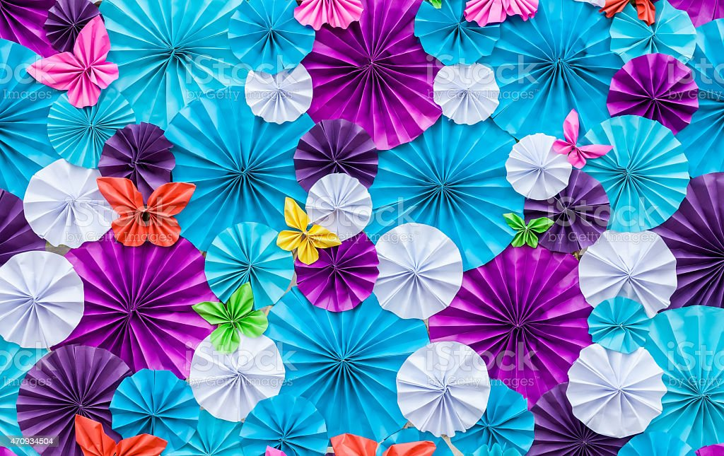 Artificial paper flowers stock photo