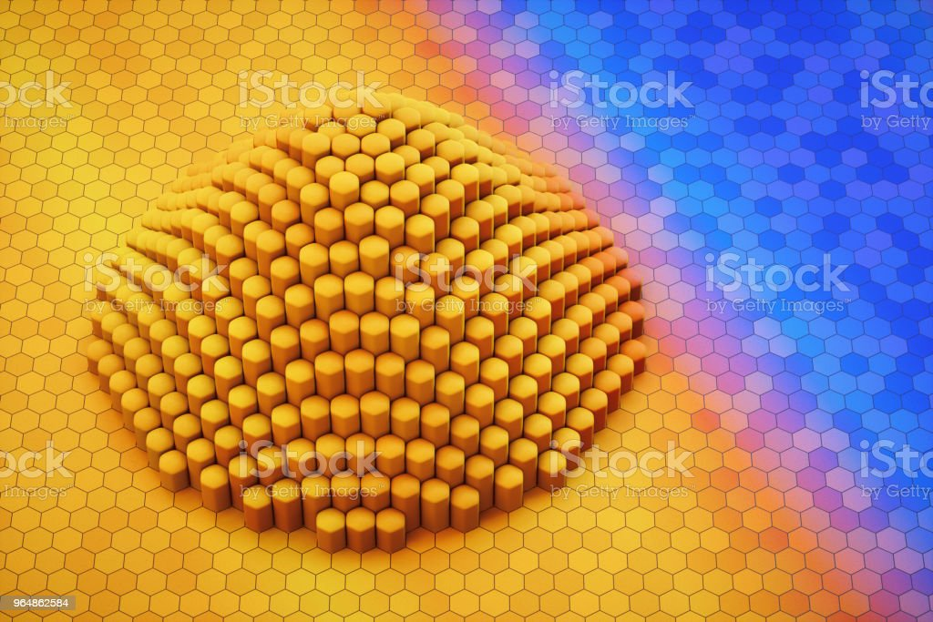 Artificial pyramid made out of hexagon block shapes royalty-free stock photo