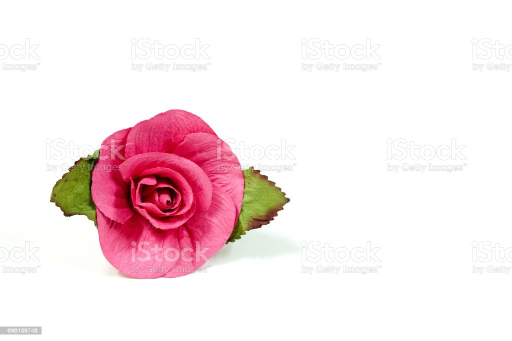 Artificial red roses for valentine's day decoration on white background stock photo