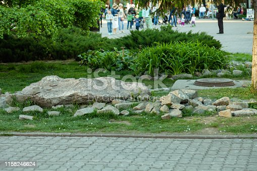 Artificial stone garden in a park in the center of the city with plants, grass and bushes against the background of people walking and having rest in the fresh air