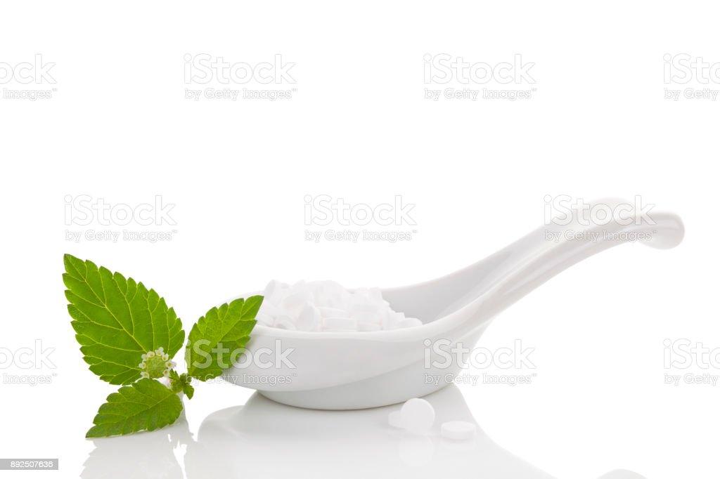 Artificial sweetener pills. stock photo