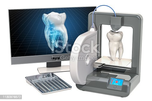 istock Artificial tooth on three dimensional printer, 3d printing in stomatology concept. 3D rendering isolated on white background 1130976572