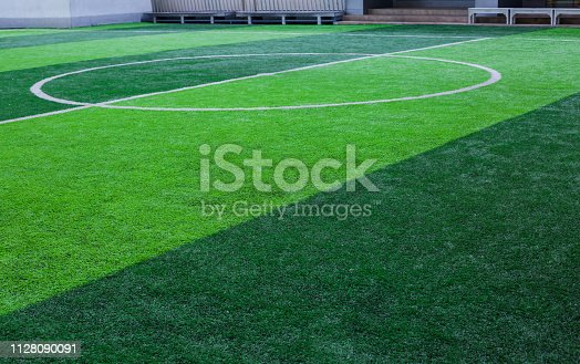 artificial turf for green background. centre circle of football or soccer field