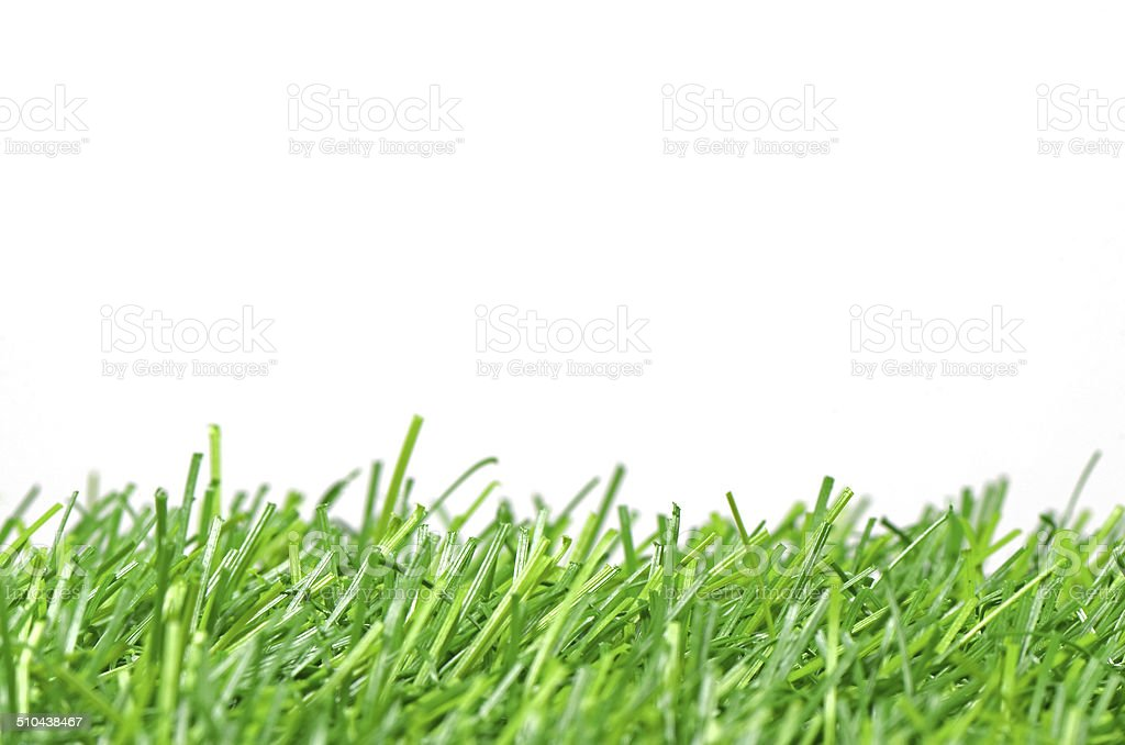 Artificial Turf for Soccer Field Isolated on White Background. stock photo