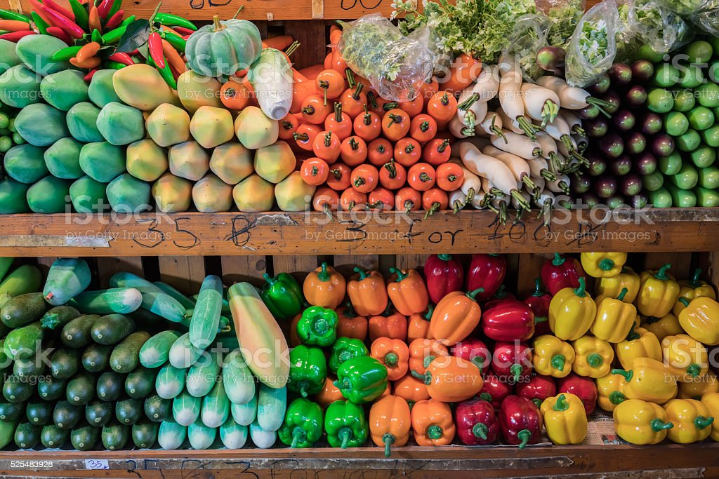 Artificial vegetables stock photo