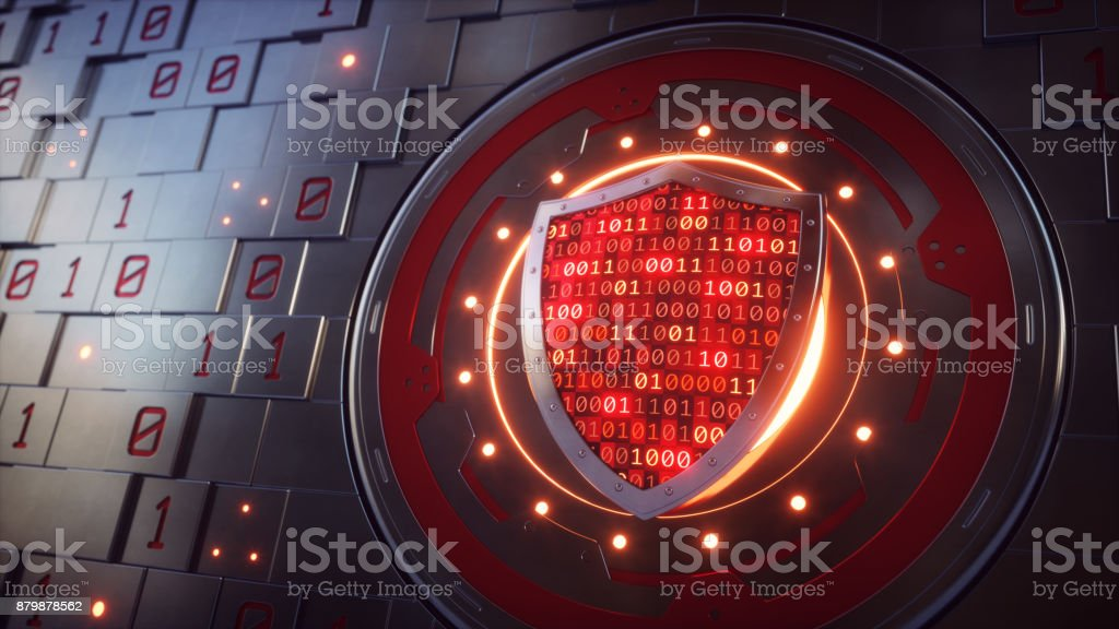 Artificial Wall Mechanism With Security Shield Concept stock photo