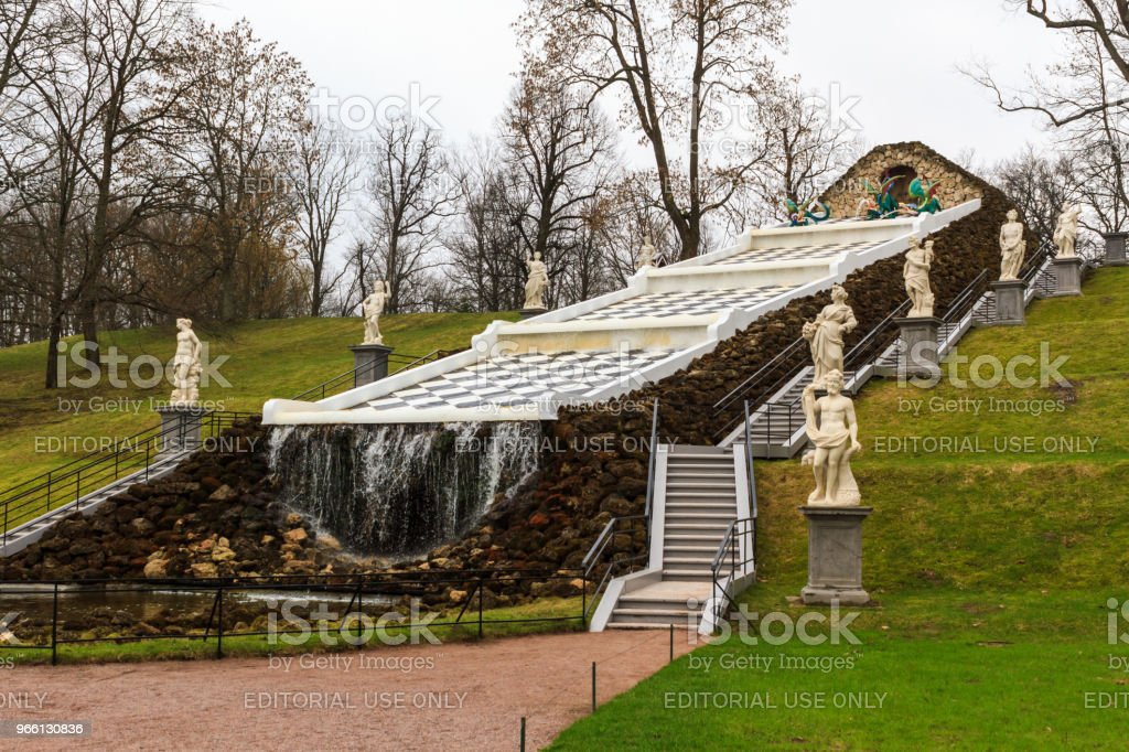 Artificial waterfall in The Peterhof Palace garden. - Royalty-free Antique Stock Photo
