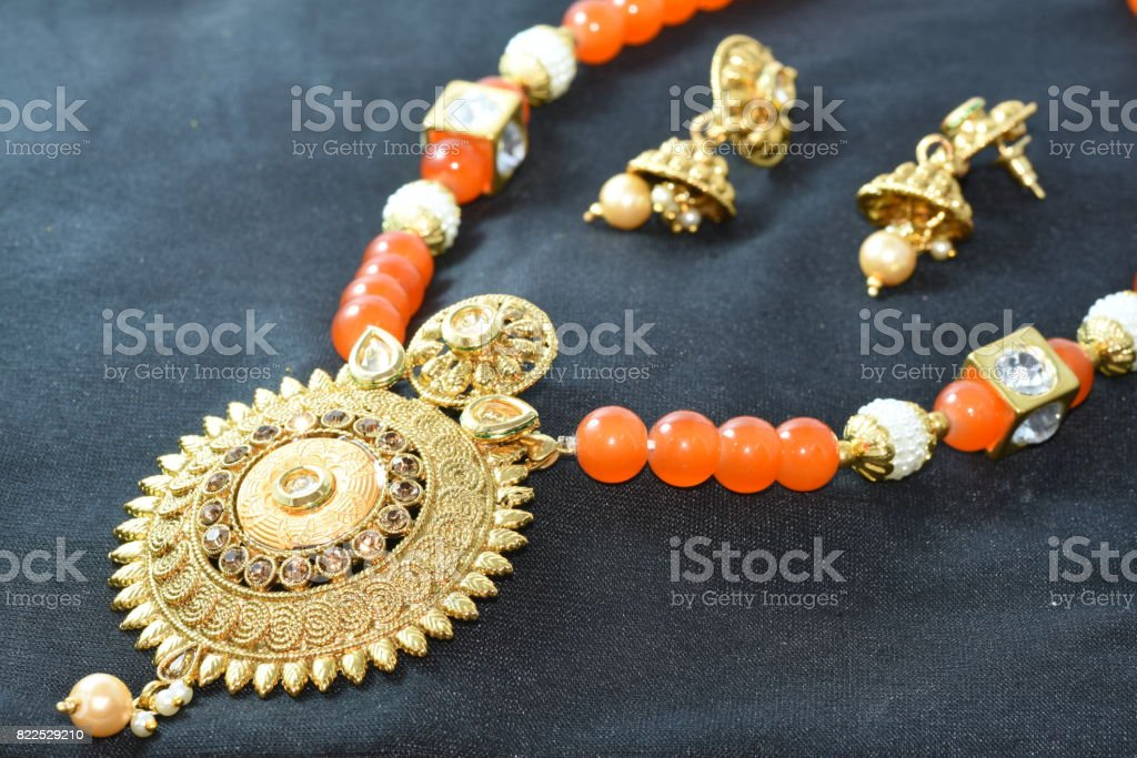 Artifitial jewellary neck set stock photo